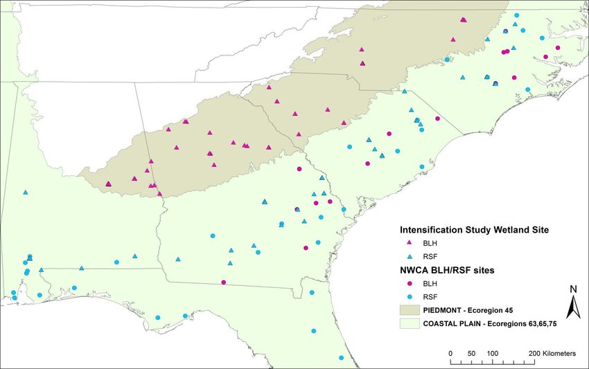 Wetland site locations for Southeast region intensification project