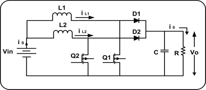 Schematic diagram of Interleaved Boost Circuit Considering peak
