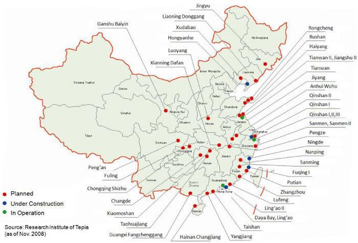 Location of Nuclear Power Plants in China WNA (Ref 53, 4 2 T U 2015U