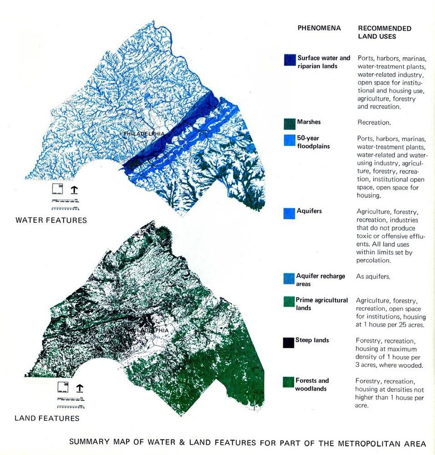 Summary map of water and land features for part of the metropolitan
