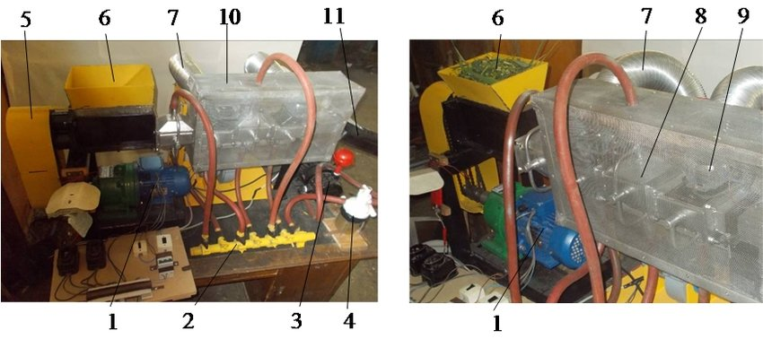 Test apparatus for microwave-vacuum drying of plant materials 1