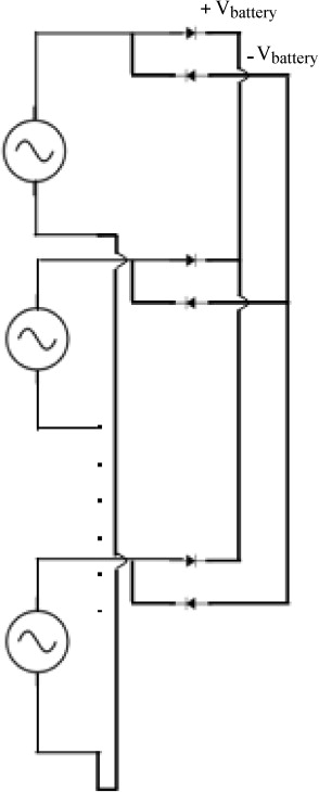 Schematic of the alternator with the rectifier circuit and the