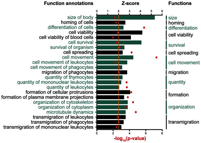 We used the IPA regulation z-score algorithm to identify biological