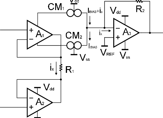 two op amps instrumentation amplifier