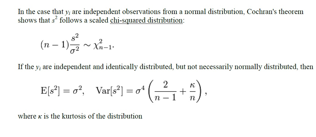 What are the mean and variance of the sampling distribution - sample variance