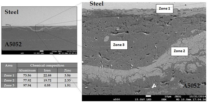 SEM image of non-uniform chemical composition area in weld obtained