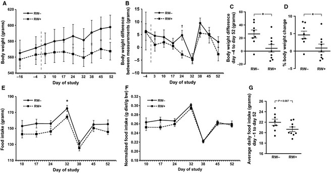 Body weight and food intake Body weight was measured approximately
