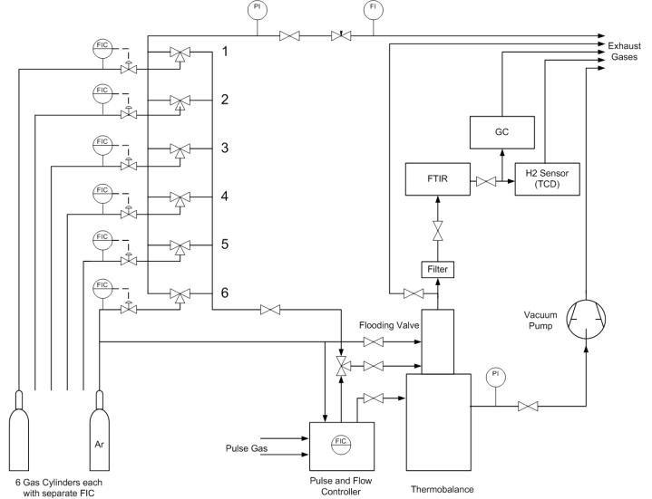 Simplified Process Flow Diagram of the thermo-gravimetric apparatus