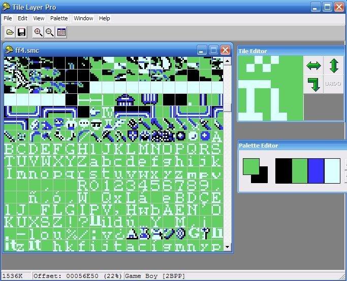 Font of the Final Fantasy IV ROM (Super Nintendo version) in Tile