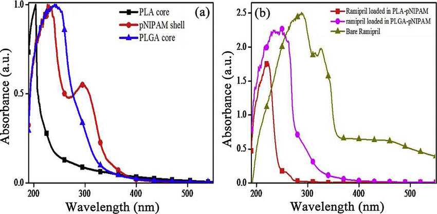 UV-vis absorption spectra of (a) PLA/PLGA cores and pNIPAM shell