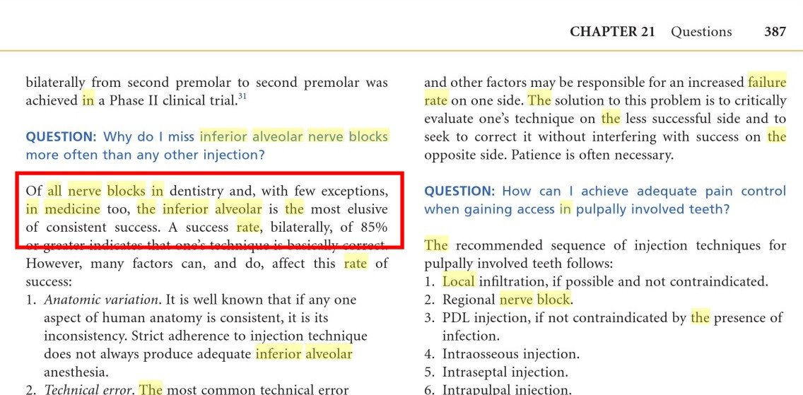 Has InferiorAlveolar Block the lowest success rate among all blocks - how do you evaluate success