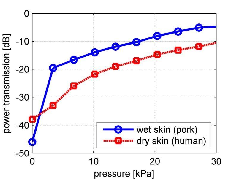 Power transmission through pork abdomen sample (slightly wet) and