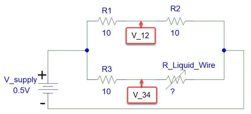 Schematic diagram of Wheatstone bridge circuit Resistances are in Ω