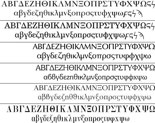 Some Linotype and Magenta Greek typefaces  Download Scientific