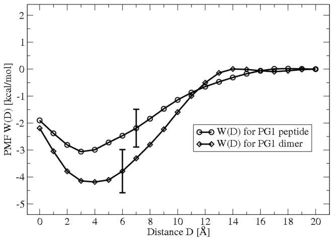 PMFs of adsorption for protegrin monomers and dimers on 13 POPE