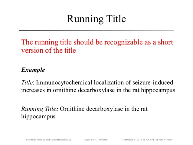 What should be the word count for the titles of research papers? - running title scientific paper