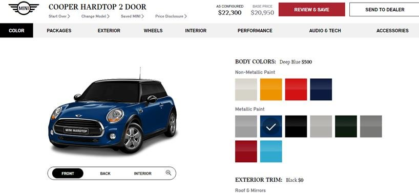 Screenshot of the Mini Cooper\u0027s online product configurator with