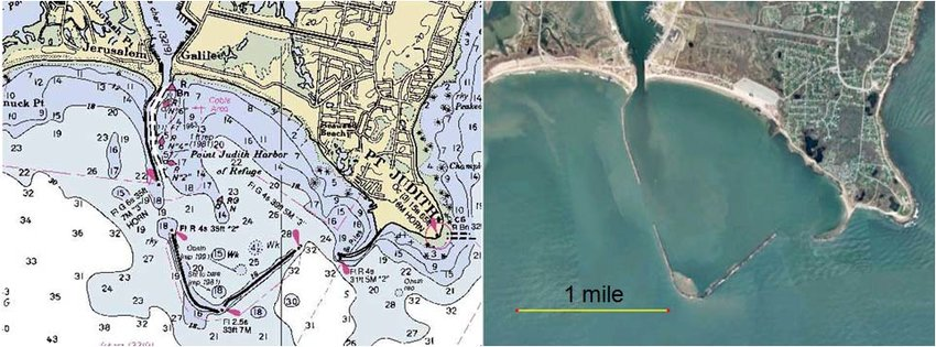 NOAA nautical charts and Google Earth image of Point Judith Harbor