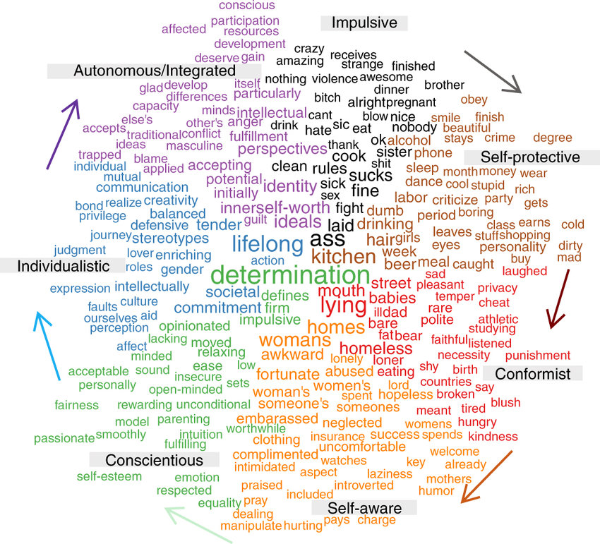 A comparison word cloud showing the 250 terms showing the strongest
