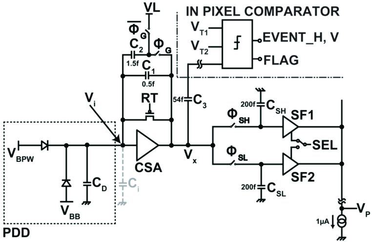 charge sensitive amplifier circuit