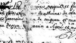 Baptismal record Marie Lassalle, Escou, France