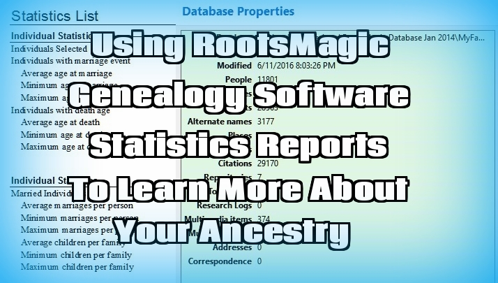 SNGF:  Genealogy Database Statistics