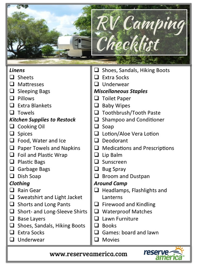 printable camping checklist template
