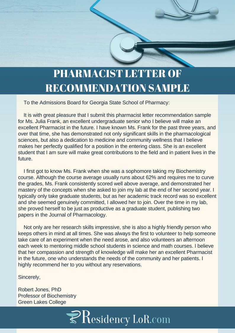 pharmacy school recommendation letter sample