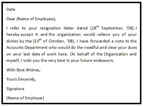 Resignation Acceptance Letter Format - Resignation Letter Help