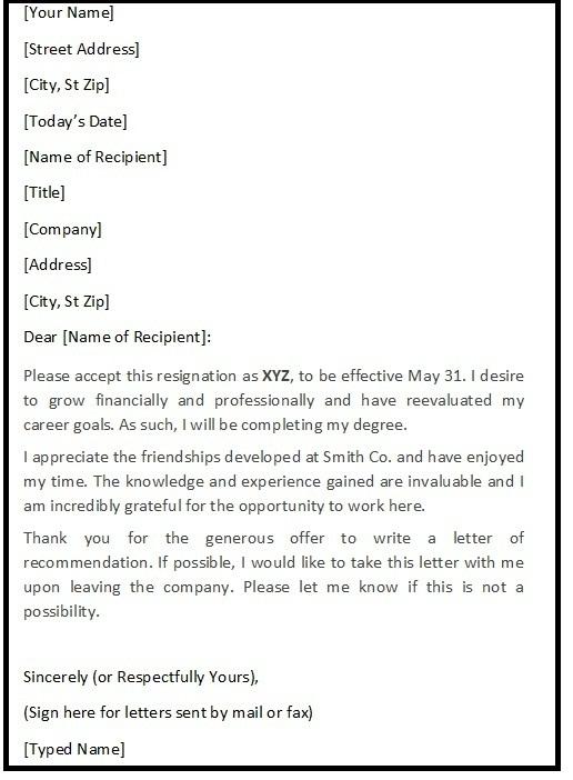 Polite Resignation Letter Sample - Resignation Letters Sample - samples of resignation letters