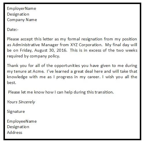 Sample Resignation Letter Letter of Resignation