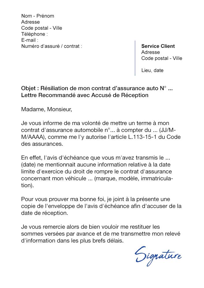 exemple modele lettre resiliation canalsat loi chatel exemple de lettre
