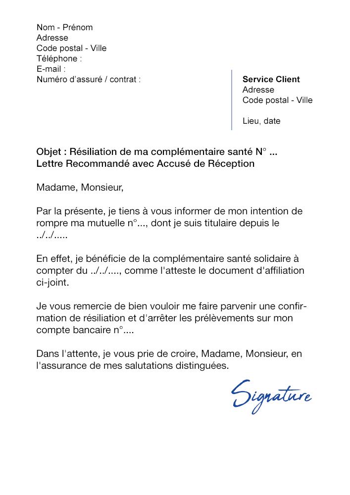 lettre resiliation mutuelle pour cmu