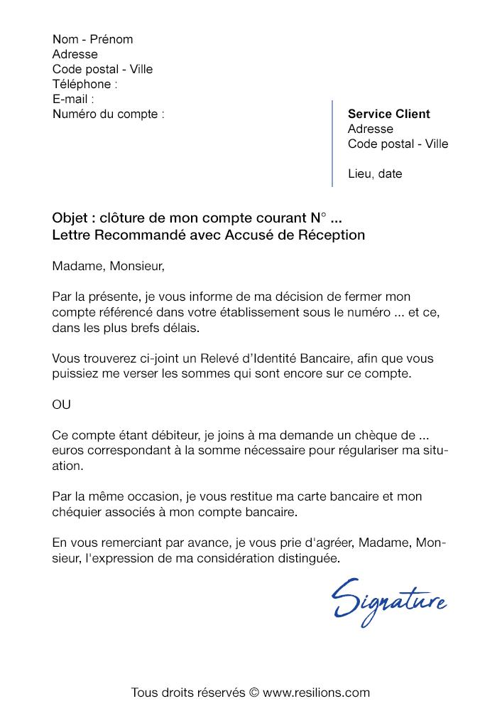 lettre resiliation compte bancaire credit agricole