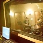 Aaron Boynton slaps the skins, recording at Shiloh Studio, Aurora, IL.