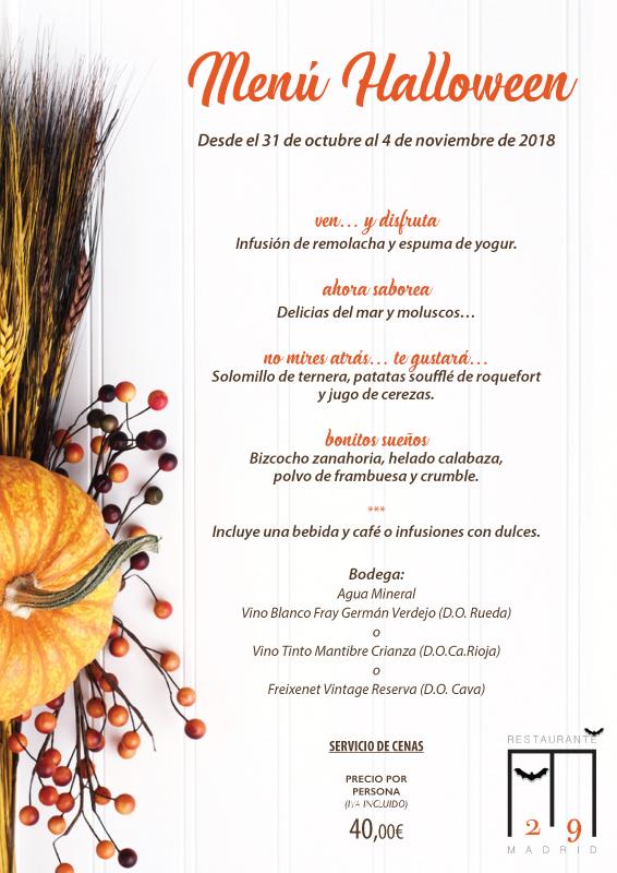 Menú de Halloween Restaurante M29, Madrid