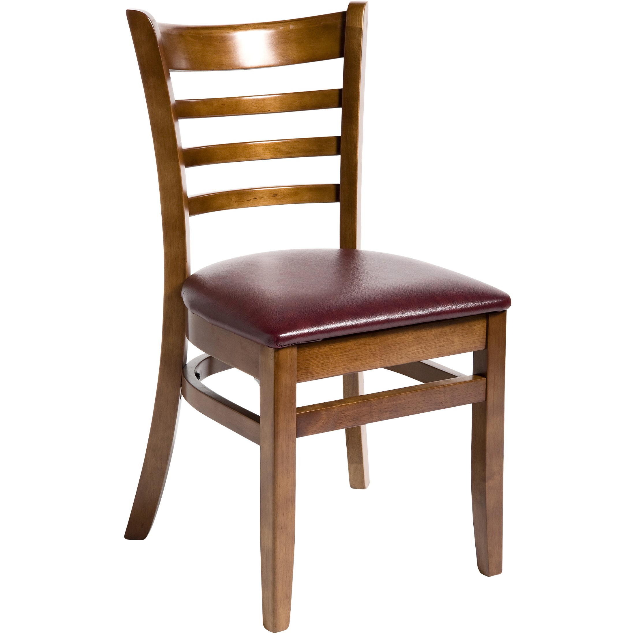 Wood ladder back chair walnut finish with wine vinyl seat