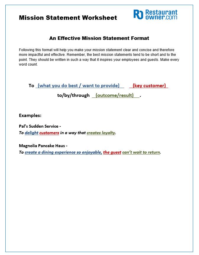 Restaurant Mission Statement Worksheet
