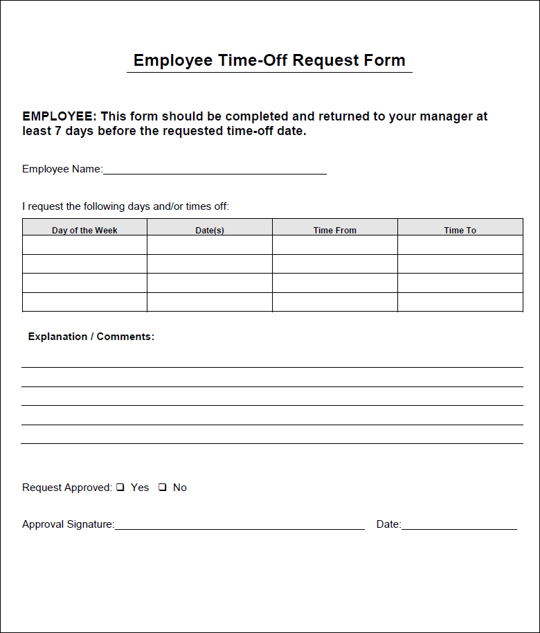 employee day off request form