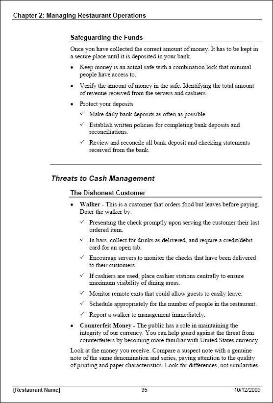 Restaurant Manager Training Manual Template - compliance manual template