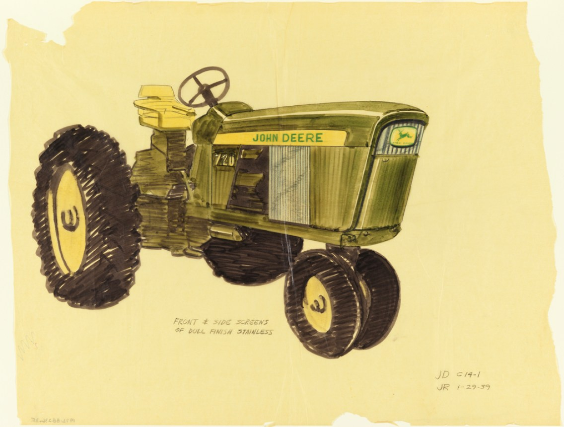 Henry Dreyfuss drawing for the Model 720, front and side screens, for John Deere, January 29, 1959. Via Cooper Hewitt. See more objects with the color darkslategrey olivedrab beige darkolivegreen darkkhaki or see all the colors for this object. 1959 1972 2016 2011 Drawing, Tractor, Model 720, front and side screens, for John Deere, January 29, 1959