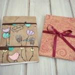 jurnal handmade piele - pasari flori5