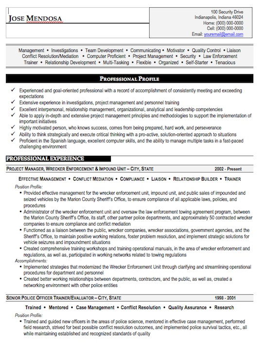Law Enforcement Resume Sample, Free Resume Template, Professional
