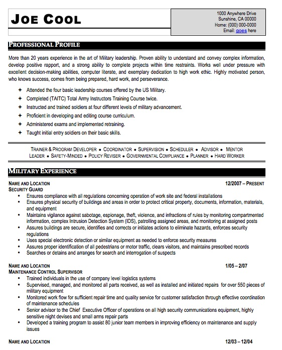 Military Resume Sample, Free Resume Template, Professional Military