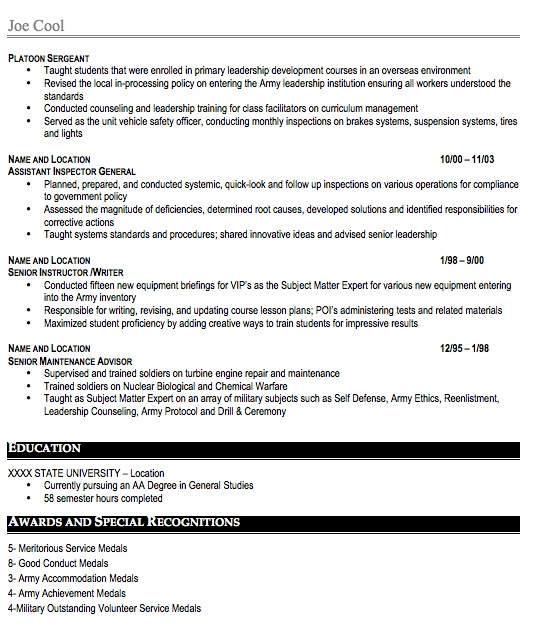 sample military resume