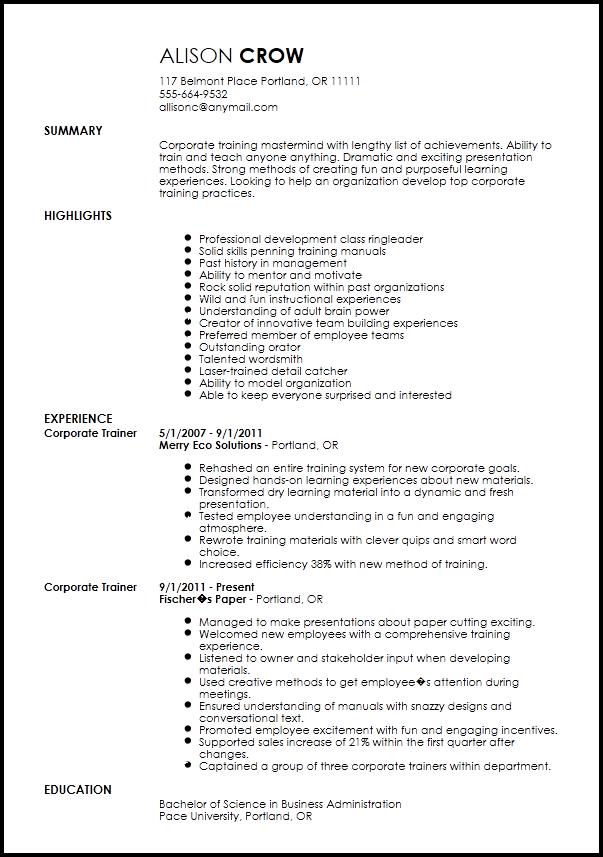 resume examples corporate trainer