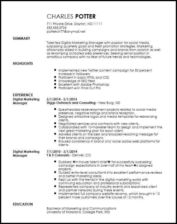 resume objective digital marketing
