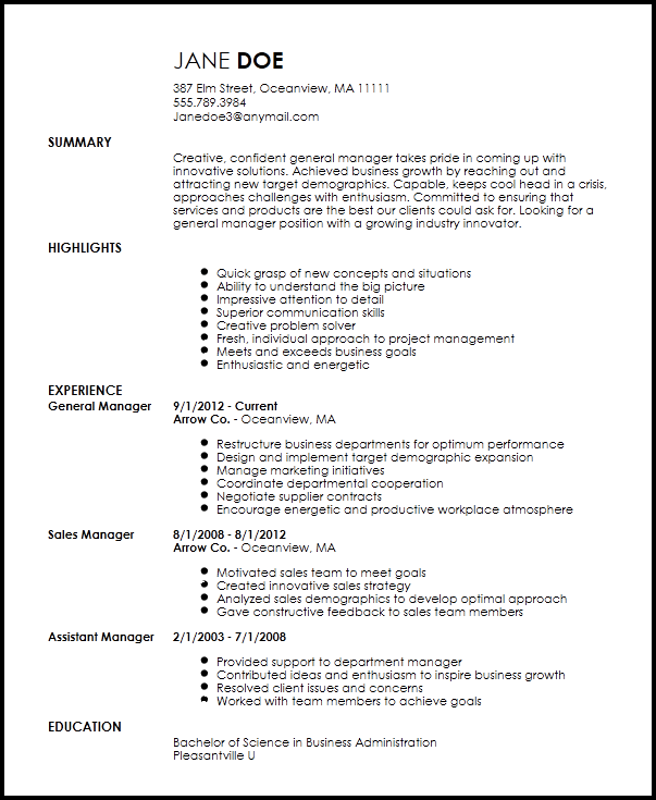 general manager cv sample