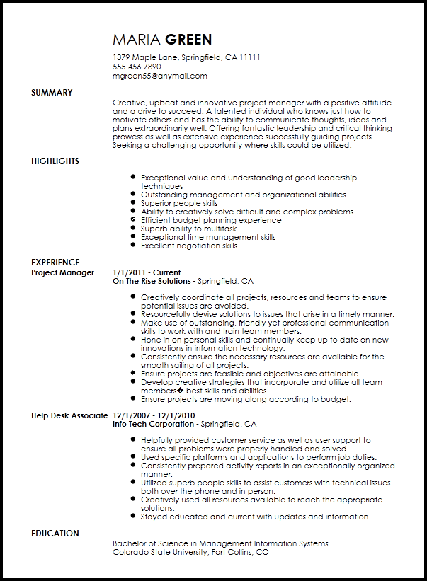 creative project manager resume templates