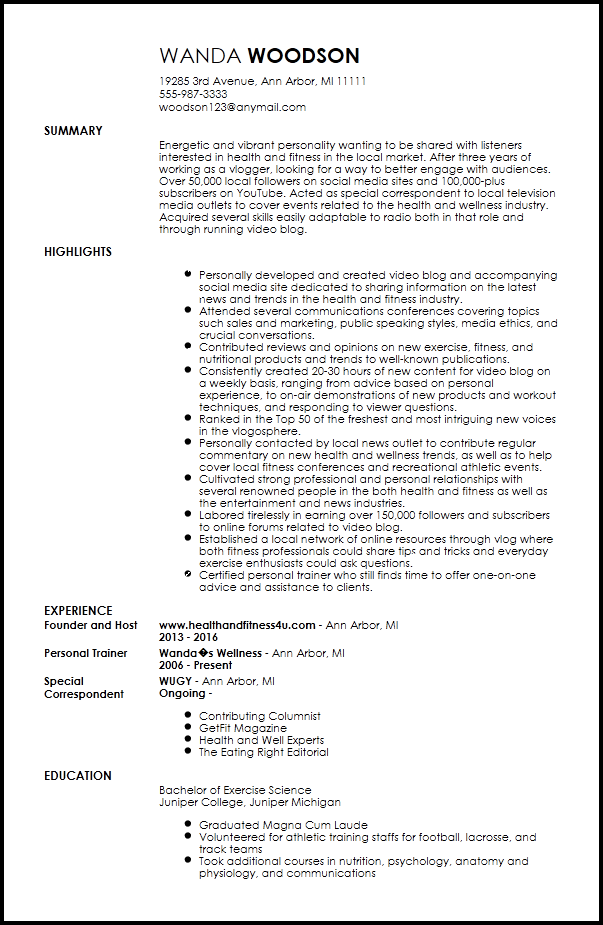 radio dj resume template